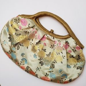 Handbags - Silky Floral Asian print Hand Bag